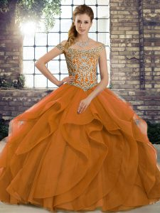 Perfect Orange Quinceanera Gown Military Ball and Sweet 16 and Quinceanera with Beading and Ruffles Off The Shoulder Sleeveless Brush Train Lace Up
