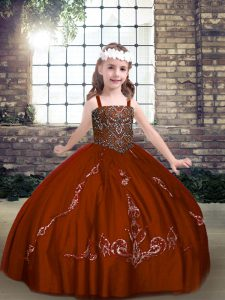 Sleeveless Lace Up Floor Length Beading Little Girls Pageant Dress