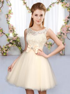 Champagne A-line Scoop Sleeveless Tulle Mini Length Lace Up Lace and Bowknot Vestidos de Damas