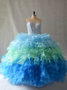 Noble Multi-color Sleeveless Floor Length Beading and Ruffles Lace Up 15 Quinceanera Dress