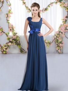 Hot Selling Navy Blue Straps Neckline Belt and Hand Made Flower Damas Dress Sleeveless Zipper