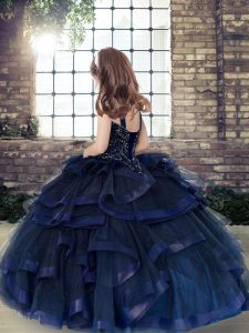 Customized Eggplant Purple Lace Up Straps Beading and Ruffles Girls Pageant Dresses Tulle Sleeveless