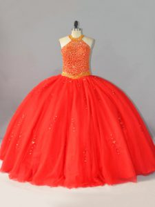 Fantastic Sleeveless Lace Up Floor Length Beading Sweet 16 Dresses