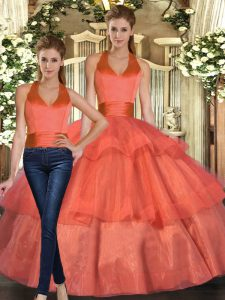 Organza Halter Top Sleeveless Lace Up Ruffled Layers Quinceanera Gown in Orange