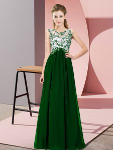 Floor Length Zipper Quinceanera Dama Dress Dark Green for Wedding Party with Beading and Appliques