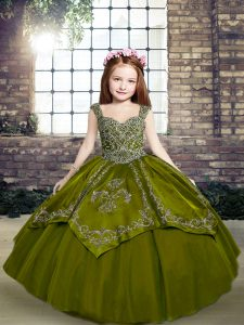 Olive Green Straps Lace Up Beading and Embroidery Glitz Pageant Dress Sleeveless