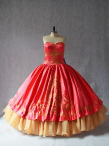 Coral Red Sleeveless Satin and Organza Lace Up Quinceanera Gowns for Sweet 16 and Quinceanera