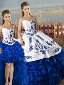 Romantic Blue And White Lace Up Sweet 16 Quinceanera Dress Embroidery and Ruffles Sleeveless