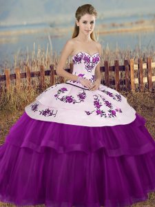 Tulle Sweetheart Sleeveless Lace Up Embroidery and Bowknot Vestidos de Quinceanera in White And Purple