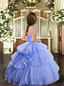 Straps Sleeveless Lace Up Little Girls Pageant Gowns Baby Pink Tulle