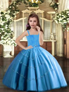 Great Straps Sleeveless Tulle Little Girl Pageant Gowns Beading Lace Up