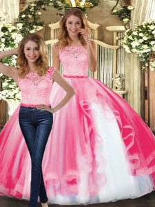 Trendy Sleeveless Lace and Ruffles Clasp Handle 15 Quinceanera Dress