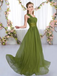Most Popular Olive Green Empire One Shoulder Sleeveless Chiffon Floor Length Lace Up Ruching Dama Dress