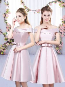 Mini Length Lace Up Vestidos de Damas Baby Pink for Wedding Party with Bowknot