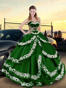 Dark Green Ball Gowns Satin Sweetheart Sleeveless Appliques and Ruffled Layers Floor Length Lace Up Vestidos de Quinceanera