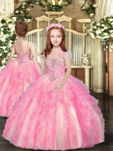 Beading and Ruffles Little Girl Pageant Dress Baby Pink Lace Up Sleeveless Floor Length