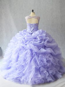 Top Selling Scoop Sleeveless Brush Train Lace Up Sweet 16 Dresses Lavender Organza