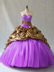 Super Floor Length Ball Gowns Sleeveless Lavender Quince Ball Gowns Lace Up