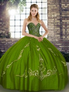 Floor Length Olive Green 15th Birthday Dress Tulle Sleeveless Beading and Embroidery