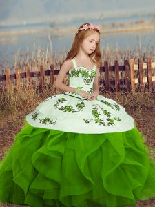 Green Sleeveless Embroidery and Ruffles Floor Length Little Girls Pageant Gowns