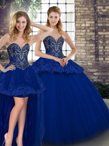 Stylish Sleeveless Lace Up Floor Length Beading and Appliques Quinceanera Dress