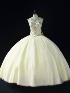 Light Yellow Ball Gowns Tulle Scoop Sleeveless Beading Floor Length Lace Up Ball Gown Prom Dress