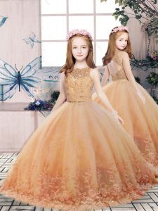 Hot Selling Gold Tulle Backless Scoop Sleeveless Floor Length Little Girls Pageant Dress Wholesale Lace and Appliques
