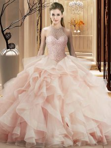 Pink Sleeveless Beading and Ruffles Lace Up Quinceanera Gowns