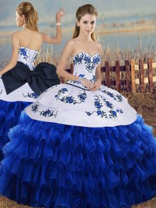 Embroidery and Ruffled Layers and Bowknot 15 Quinceanera Dress Royal Blue Lace Up Sleeveless Floor Length