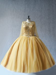 Romantic Tulle Sleeveless Floor Length 15 Quinceanera Dress and Beading