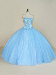 Blue Strapless Neckline Beading 15th Birthday Dress Sleeveless Lace Up