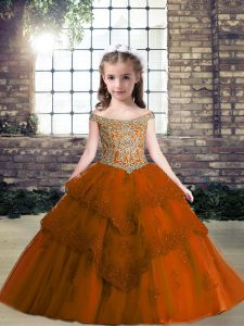 Glorious Rust Red Off The Shoulder Lace Up Beading and Appliques Little Girls Pageant Gowns Sleeveless