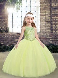 Light Yellow Tulle Lace Up Pageant Gowns For Girls Sleeveless Floor Length Beading