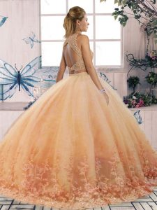 Scalloped Sleeveless 15th Birthday Dress Sweep Train Lace Turquoise Tulle