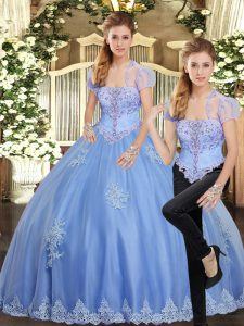 Vintage Sleeveless Beading and Appliques Lace Up Quinceanera Dress