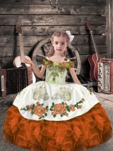 Floor Length Ball Gowns Sleeveless Orange Red Kids Formal Wear Lace Up
