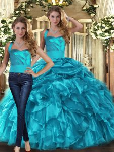 Extravagant Two Pieces Ball Gown Prom Dress Teal Halter Top Organza Sleeveless Floor Length Lace Up