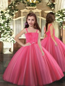 Straps Sleeveless Lace Up Girls Pageant Dresses Hot Pink Tulle