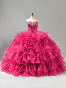 Organza Sweetheart Sleeveless Lace Up Beading and Ruffles Ball Gown Prom Dress in Hot Pink
