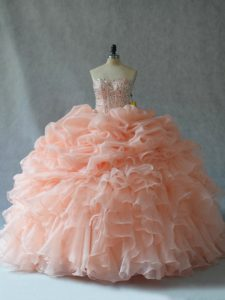 Discount Strapless Sleeveless Lace Up Quince Ball Gowns Peach Organza