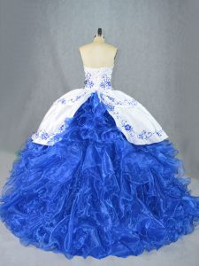 Low Price Blue And White Lace Up Sweetheart Beading and Embroidery and Ruffles 15 Quinceanera Dress Organza Sleeveless Brush Train