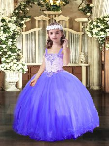 Blue Ball Gowns Beading Kids Pageant Dress Lace Up Tulle Sleeveless Floor Length