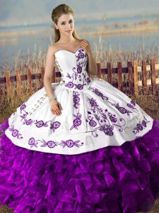 Suitable White And Purple Lace Up Sweetheart Embroidery and Ruffles 15 Quinceanera Dress Organza Sleeveless