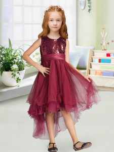 Classical Burgundy Zipper Flower Girl Dresses for Less Sequins and Bowknot Sleeveless High Low