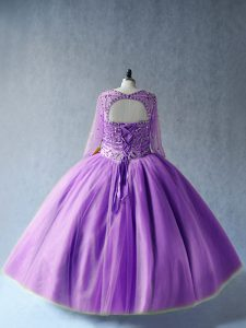 Flare Lavender Lace Up Scoop Beading Vestidos de Quinceanera Tulle Long Sleeves