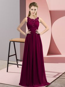 Graceful Floor Length Empire Sleeveless Dark Purple Quinceanera Court Dresses Zipper