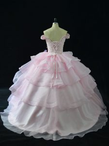 Sleeveless Brush Train Lace Up Beading and Ruffled Layers Quince Ball Gowns