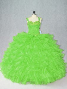 Top Selling Organza Side Zipper Quince Ball Gowns Sleeveless Floor Length Beading and Ruffles
