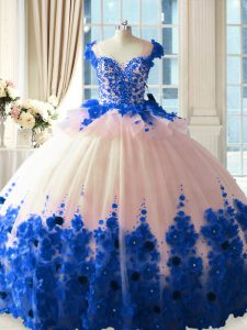 Tulle Scoop Sleeveless Brush Train Zipper Hand Made Flower Quinceanera Dresses in Blue And White