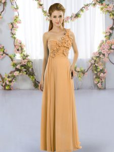 Fabulous Gold One Shoulder Lace Up Hand Made Flower Damas Dress Sleeveless
